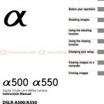 Sony Alpha DSLR-A500 and A550 Manual Download