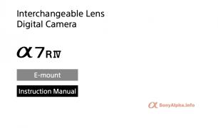 Sony A7R IV User Manual